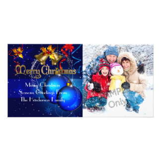 Photo Merry Christmas Season Greetings Family 2 Photo Greeting Card