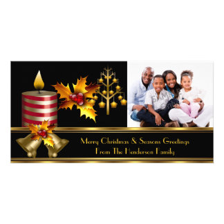 Photo Merry Christmas Season Greetings Family 3 Card