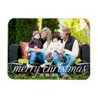 Photo Merry Christmas   White Script Overlay Magnet