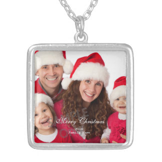 Photo Merry Xmas Green Red Christmas 2 Silver Plated Necklace