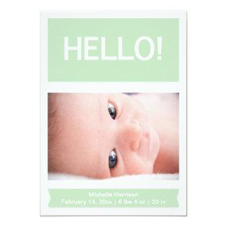 Photo Mint Green Birth Announcement