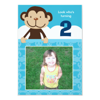 Photo Monkey Birthday Invitation Double Sided
