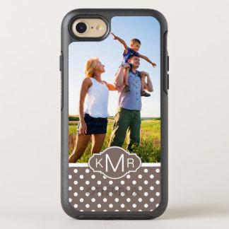 Photo & Monogram Brown Polka Dots OtterBox Symmetry iPhone 8/7 Case