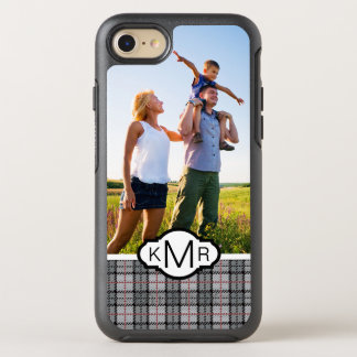 Photo & Monogram Pixel Plaid in Grey & Red OtterBox Symmetry iPhone 8/7 Case