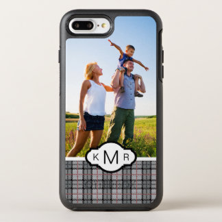 Photo & Monogram Pixel Plaid in Grey & Red OtterBox Symmetry iPhone 8 Plus/7 Plus Case