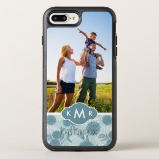 Photo & Monogram Retro Floral Pattern 2 2 OtterBox Symmetry iPhone 8 Plus/7 Plus Case