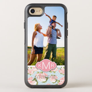 Photo & Monogram roses with blue polka dots OtterBox Symmetry iPhone 8/7 Case