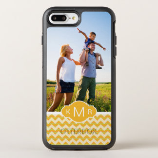 Photo & Monogram Yellow chevron pattern OtterBox Symmetry iPhone 8 Plus/7 Plus Case