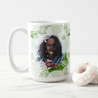 Photo Mug - Holidayz - Green & White Snow Stars