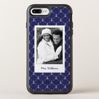 Photo & Name Anchor pattern OtterBox Symmetry iPhone 8 Plus/7 Plus Case