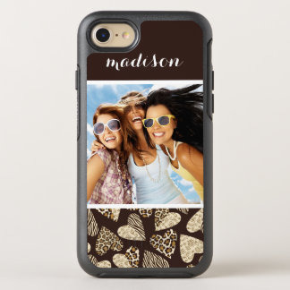 Photo & Name Animal skin with hearts OtterBox Symmetry iPhone 8/7 Case