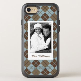 Photo & Name Argyle Pattern in Blue & Taupe OtterBox Symmetry iPhone 8/7 Case