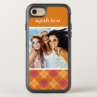 Photo & Name Bias Plaid in Orange and Pink OtterBox Symmetry iPhone 8/7 Case