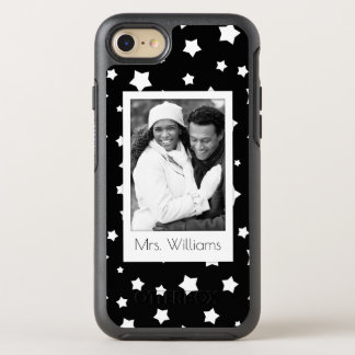 Photo & Name Black and white stars pattern OtterBox Symmetry iPhone 8/7 Case