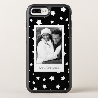 Photo & Name Black and white stars pattern OtterBox Symmetry iPhone 8 Plus/7 Plus Case