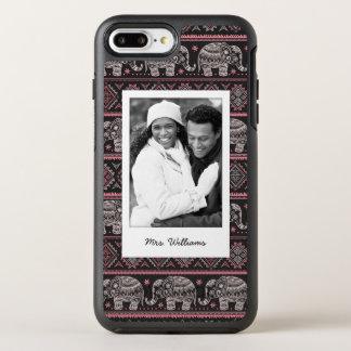 Photo & Name Black Ethnic Elephant Pattern OtterBox Symmetry iPhone 8 Plus/7 Plus Case