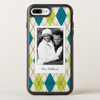 Photo & Name Blue And Green Argyle OtterBox Symmetry iPhone 8 Plus/7 Plus Case