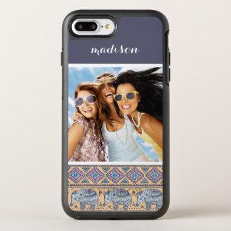 Photo & Name Blue Elephant Tribal Pattern OtterBox Symmetry iPhone 8 Plus/7 Plus Case