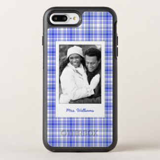 Photo & Name Blue White Plaid 2 OtterBox Symmetry iPhone 8 Plus/7 Plus Case