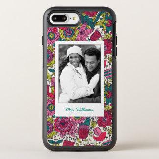 Photo & Name Bright floral pattern OtterBox Symmetry iPhone 8 Plus/7 Plus Case