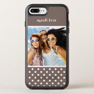 Photo & Name Brown Polka Dots OtterBox Symmetry iPhone 8 Plus/7 Plus Case