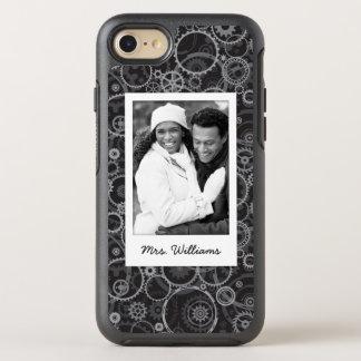 Photo & Name Cogwheels pattern OtterBox Symmetry iPhone 8/7 Case