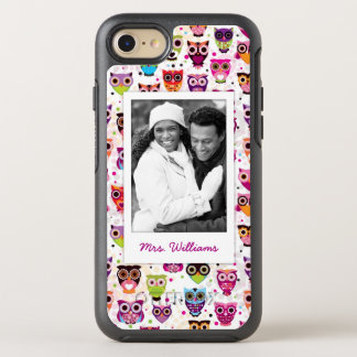 Photo & Name Cute owl pattern OtterBox Symmetry iPhone 8/7 Case