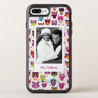 Photo & Name Cute owl pattern OtterBox Symmetry iPhone 8 Plus/7 Plus Case