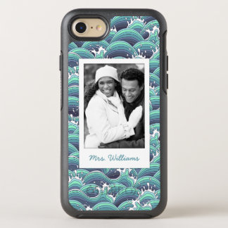 Photo & Name Decorative Sea Wave Background OtterBox Symmetry iPhone 8/7 Case