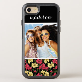 Photo & Name Elegant floral pattern 2 OtterBox Symmetry iPhone 8/7 Case