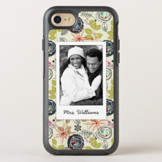 Photo & Name Floral background 3 OtterBox Symmetry iPhone 8/7 Case