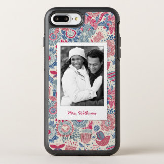 Photo & Name Floral bird & butterfly design OtterBox Symmetry iPhone 8 Plus/7 Plus Case