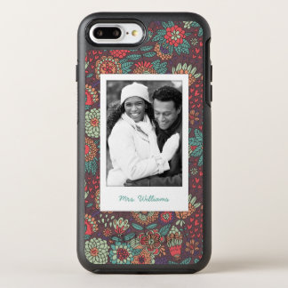 Photo & Name floral cartoon pattern OtterBox Symmetry iPhone 8 Plus/7 Plus Case