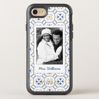 Photo & Name Floral Pattern 13 OtterBox Symmetry iPhone 8/7 Case