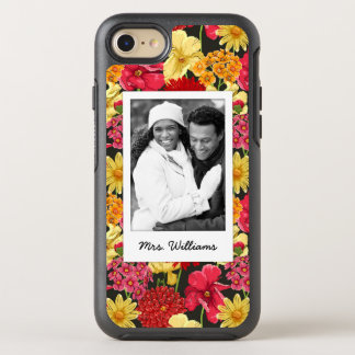 Photo & Name Floral wallpaper watercolor OtterBox Symmetry iPhone 8/7 Case