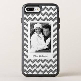 Photo & Name Geometric zigzag pattern OtterBox Symmetry iPhone 8 Plus/7 Plus Case