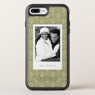 Photo & Name green and yellow pattern OtterBox Symmetry iPhone 8 Plus/7 Plus Case