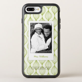 Photo & Name Green ogee pattern background OtterBox Symmetry iPhone 8 Plus/7 Plus Case