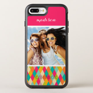Photo & Name Harlequin vintage pattern OtterBox Symmetry iPhone 8 Plus/7 Plus Case