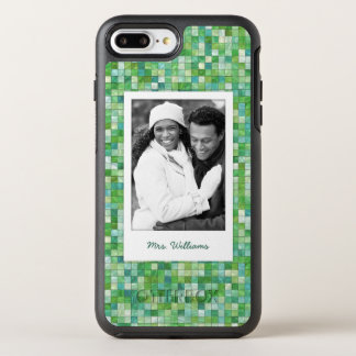 Photo & Name irregular green pattern OtterBox Symmetry iPhone 8 Plus/7 Plus Case