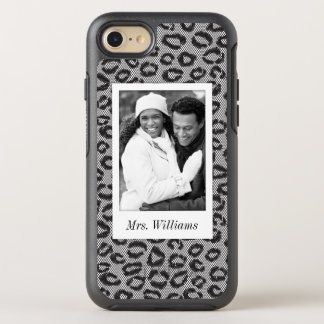 Photo & Name lace with leopard pattern OtterBox Symmetry iPhone 8/7 Case