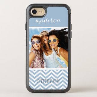 Photo & Name Light Blue Chevron OtterBox Symmetry iPhone 8/7 Case