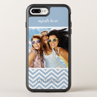 Photo & Name Light Blue Chevron OtterBox Symmetry iPhone 8 Plus/7 Plus Case