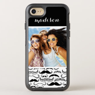Photo & Name Mustache pattern 2 OtterBox Symmetry iPhone 8/7 Case