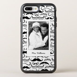 Photo & Name Mustache pattern 2 OtterBox Symmetry iPhone 8 Plus/7 Plus Case