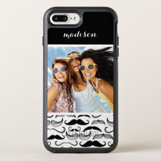 Photo & Name Mustache pattern 2 OtterBox Symmetry iPhone 8 Plus/7 Plus Case