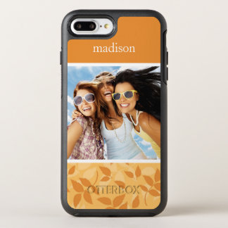 Photo & Name Pattern with autumn leaves OtterBox Symmetry iPhone 8 Plus/7 Plus Case