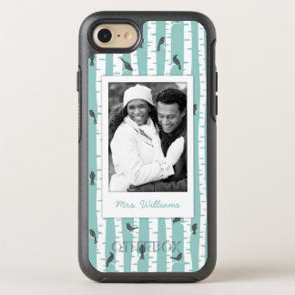 Photo & Name Pattern with birds and trees OtterBox Symmetry iPhone 8/7 Case