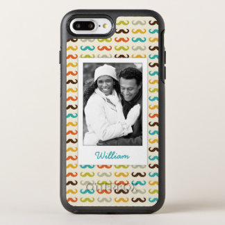 Photo & Name Pattern with mustache OtterBox Symmetry iPhone 8 Plus/7 Plus Case