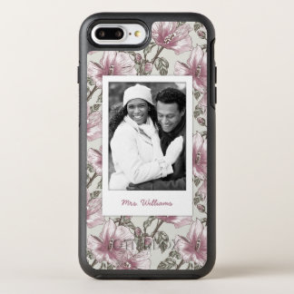 Photo & Name Pink Hibiscus Flowers Pattern OtterBox Symmetry iPhone 8 Plus/7 Plus Case